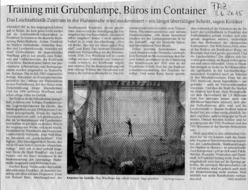 Presse: Training mit Grubenlampe, Büros im Container